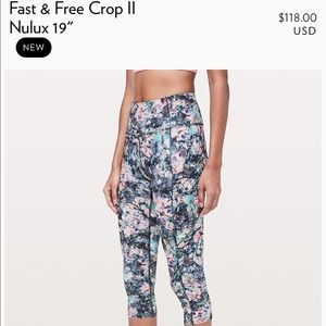 Lululemon Fast and Free Crop (like new!)